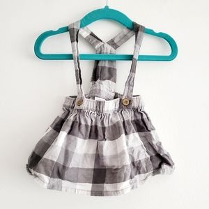 Carter's Gray Flannel Plaid Pinafore Dress White